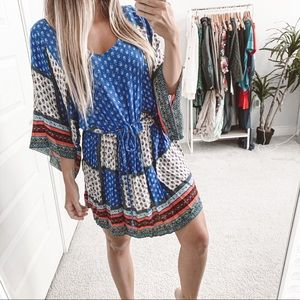 American Eagle Boho Patchwork Mini Dress Blue